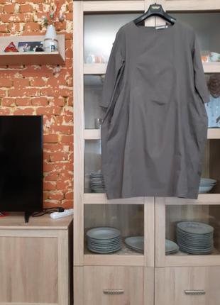 Очень стильное котоновое с карманами платье большого размера
