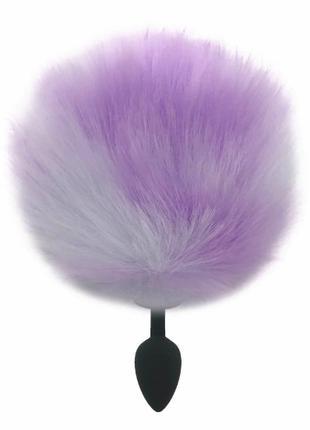 Черная анальная пробка с фиолетово-серым хвостиком Задорный Кроли
