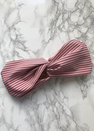 Яркая широкая розовая повязка на голову/тюрбан в полоску