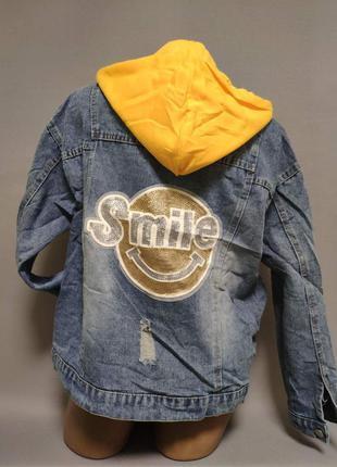 Женская джинсовая куртка с капюшоном 44-48