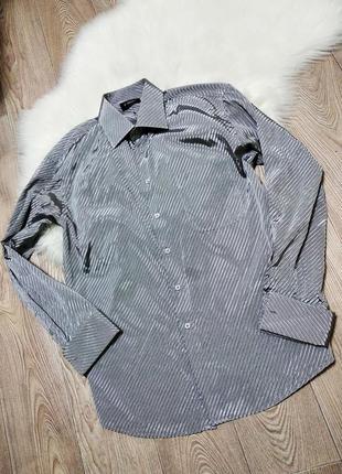 Мужская рубашка серебристая металлик в мелкую полоску под запонки
