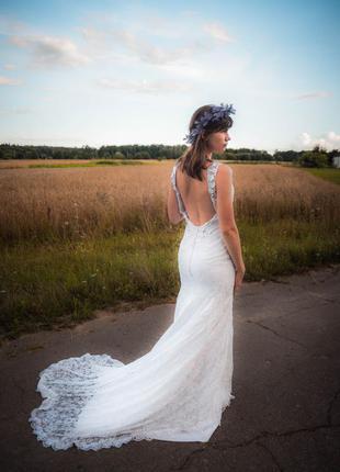 Распродажа!!! свадебное кружевное платье рыбка со шлейфом, раз...