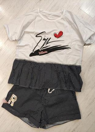Костюм спальный женский футболка+шорты, пляжный костюм  на 42...