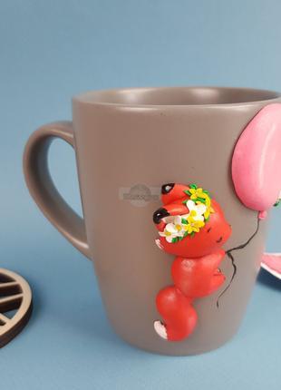 Игрушка кружка ЛИСИЧКА подарок девочке чашка с декором полимерная