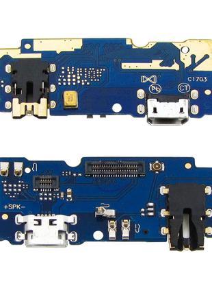 Шлейф для Meizu M5 (M611), с разъемом зарядки, с разъемом наушник