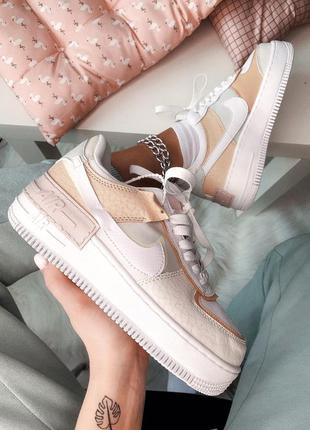Кроссовки nike air force 1 shadow white grey brown