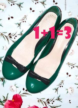 🎁1+1=3 стильные зеленые лаковые туфли балетки limited collecti...