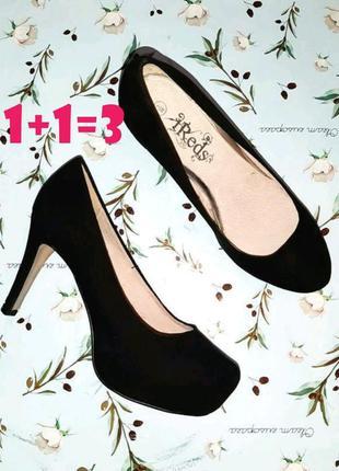 🎁1+1=3 крутые классические черные замшевые туфли на каблуке шп...