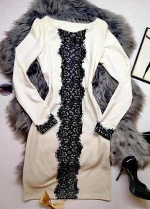 Нарядное вечернее  платье белое с кружевом красивое стильное