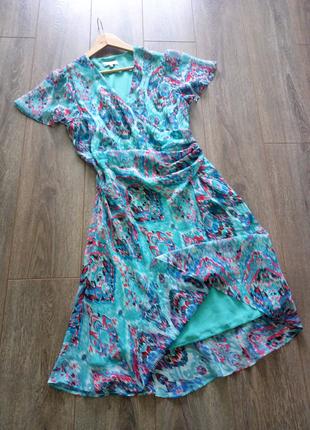 Бирюзовое голубое принт платье