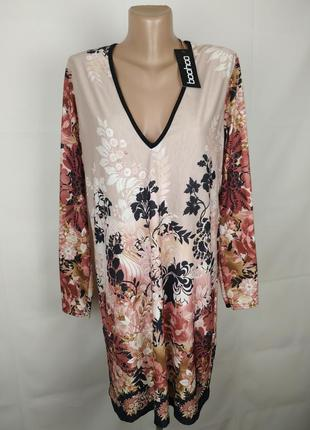 Платье новое трикотажное в красивый принт boohoo uk 16/44/xl