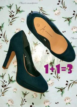 🎁1+1=3 шикарные изумрудные замшевые туфли на широком каблуке a...