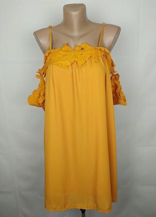 Платье новое желтое модное с кружевом boohoo uk 10/38/s