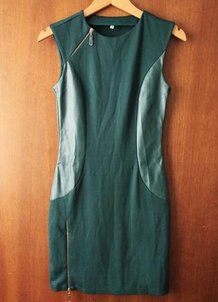 Прилегающее платье изумрудного цвета olko