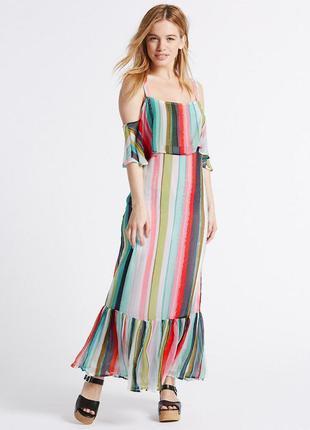 Длинное красивое платье с принтом marks & spencer