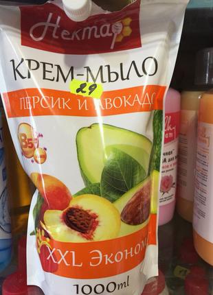 """Жидкое крем-мыло """"Нектар. Персик и авокадо"""" 1 литр"""