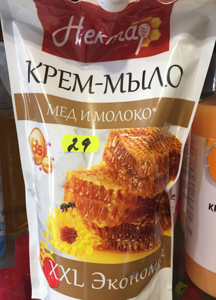 """Жидкое крем-мыло """"Нектар. Мед с молоком"""" 1 литр"""