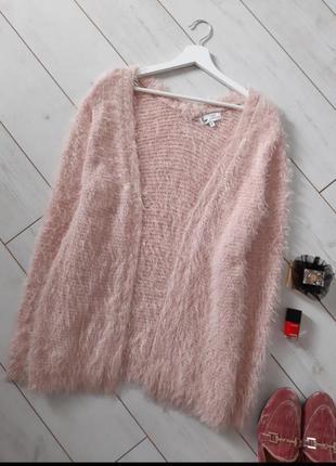 Мега стильный пушистый роспашной кардиган_в нежно розовом