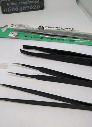 Пинцет с прямыми острыми  кончиками с антикоррозионным покрытием