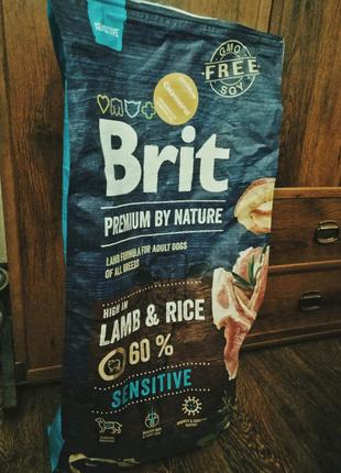 Brit care premium 15кг корм для взрослых собак, ягнёнок и рис
