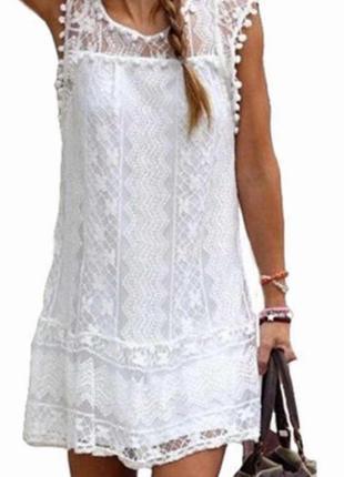 Красивое белое летнее ажурное платье мини. супер!