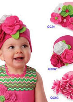 Стильная хлопковая детская шапка цветочек