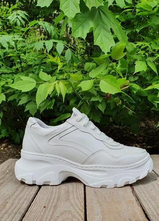 Кожаные белые кроссовки от производителя flamanti 37 р. и под ...