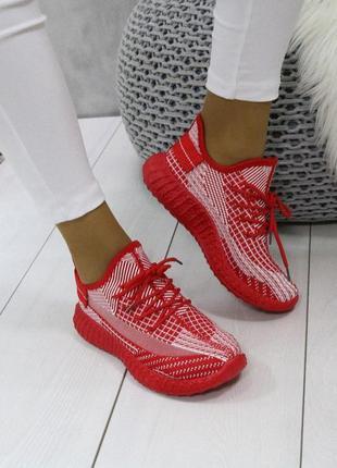 👟кроссовки женские текстиль под adidas yeezy boost 350 / налож...