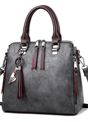 Женская темно-серая сумка кросс боди с двумя ручками и длинным...