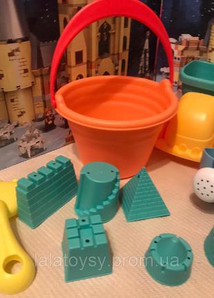 Детский игровой силиконовый набор для песочницы HG-767, ведерко