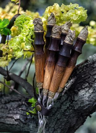 Шампура с дубовыми ручками⠀