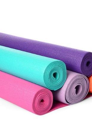 Коврик для йоги и фитнеса 173х61 см, 4мм, ПВХ, йогамат