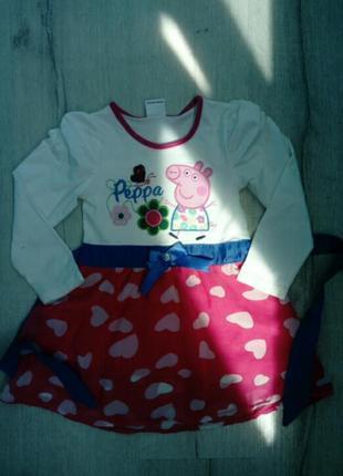Стильное фирменное хлопковое детское платье свинка пеппа
