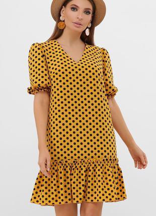 Платье летнее в горошек с рукавами - фонариками
