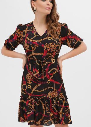 Платье летнее с принтом с рукавами - фонариками