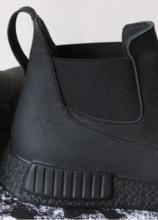 Зимние мужские ботинки Gross кожа нубук мех Гросс челси