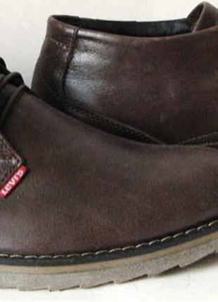 Levis зимние коричневые кожаные мужские ботинки в стиле Левис