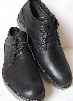 Levis зимние черные кожаные мужские ботинки в стиле Левис