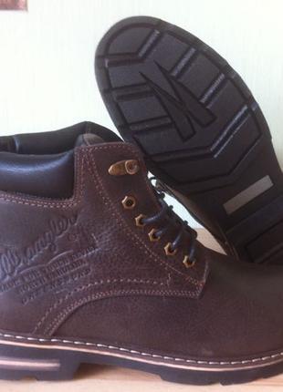 Суперские в стиле Wrangler Мужские зимние ботинки натуральная кож