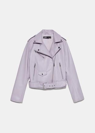 Лиловая куртка косуха zara