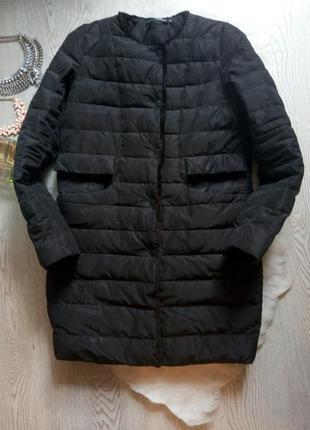Черная длинная куртка натуральный пуховик без воротника с мехо...