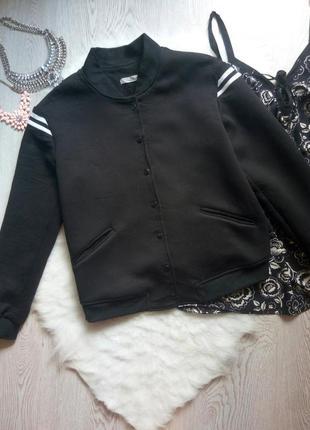 Черный плотный бомбер деми короткая куртка спорт с карманами с...