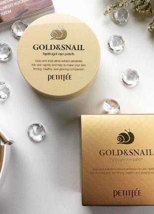 Petitfee gold&snail hydrogel eye patch гидрогелевые патчи с эк...