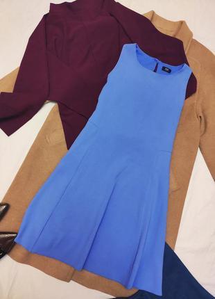 Небесно голубое синее платье трапеция на подкладке классическо...