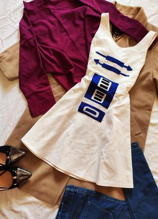 Белое платье с синим принтом h&m