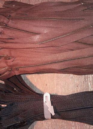 Змейка одежная 20, 22 см черная и коричневая