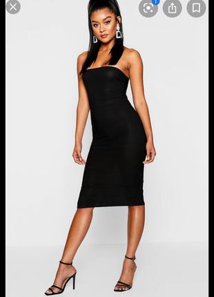 Черное платье бандо boohoo night