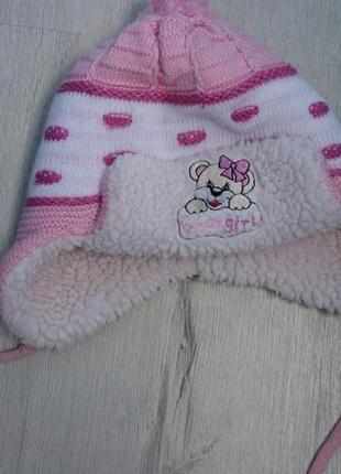 Зимняя шерстяная двойная детская шапка
