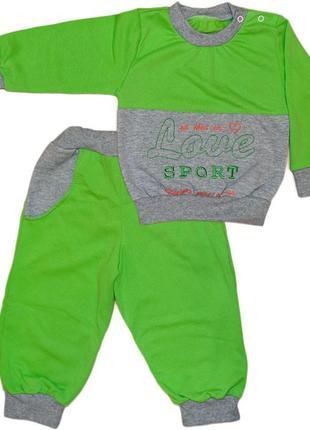 Детский теплый спортивный костюм с накатом на байке на флисе с...
