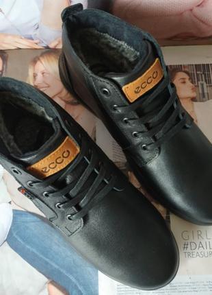 Ecco тёплые кожаные мужские зимние ботинки на шнурках сапоги мех